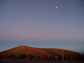 Moon over Mauna Kea's summit.